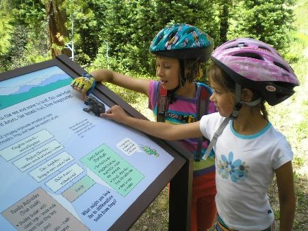 Two girls in bike helmets look at trail map at Fraser River Trail