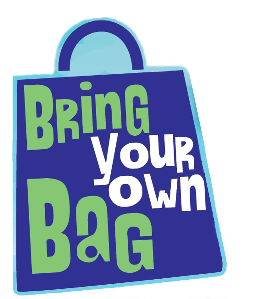 clip art of reusable bag with Bring Your Own Bag written on the bag